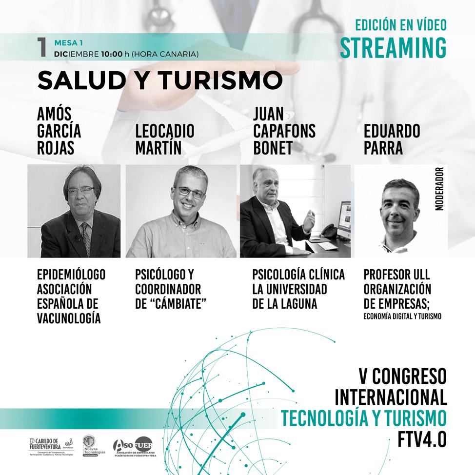 Ponentes, 1 de diciembre, V Congreso Internacional Tecnología y Turismo Fuerteventura 4.0.
