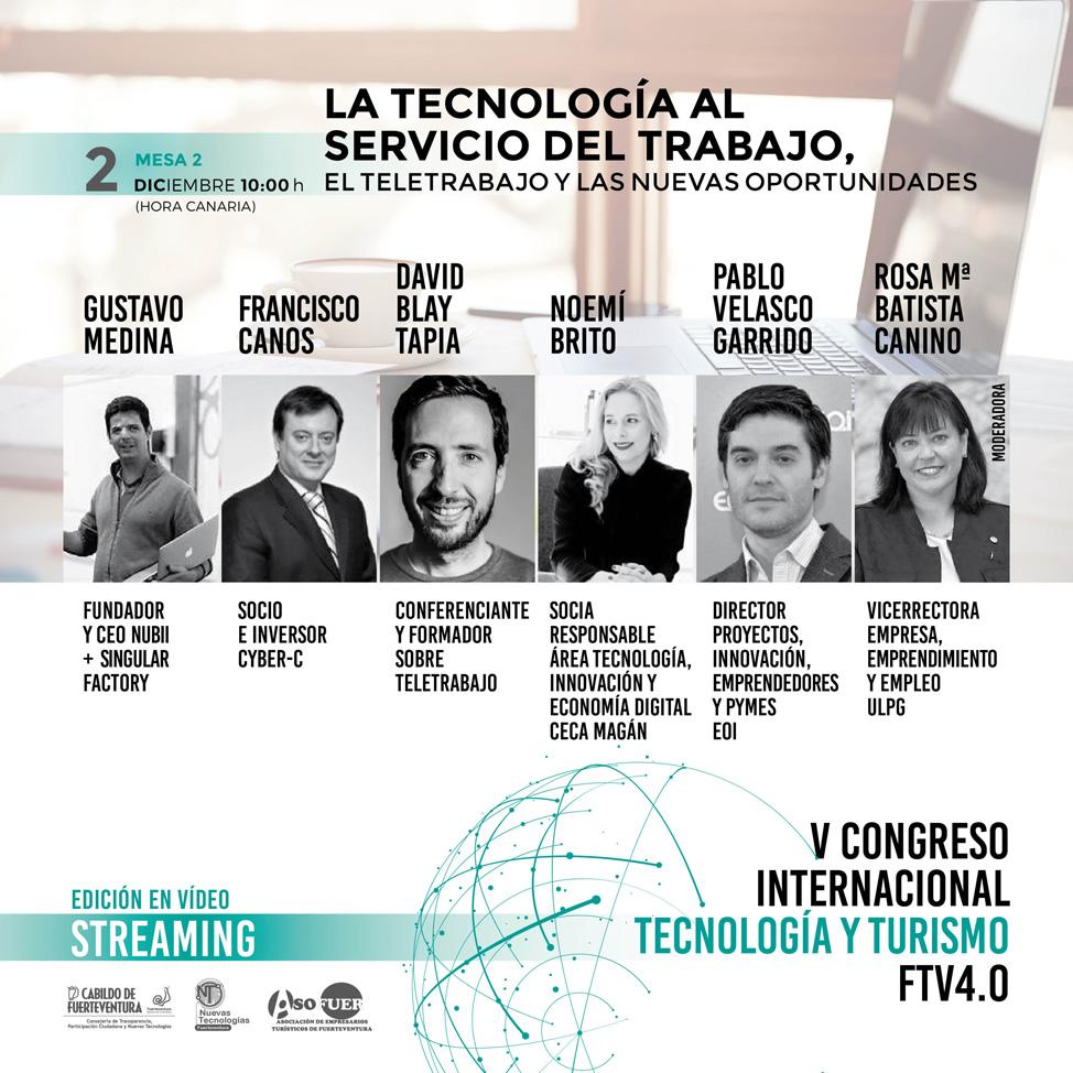 Ponentes, 2 de diciembre, V Congreso Internacional Tecnología y Turismo Fuerteventura 4.0.