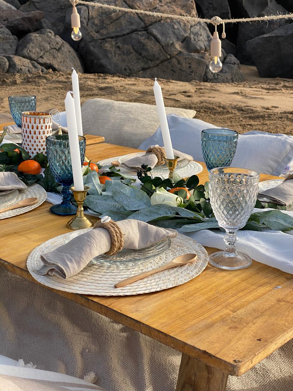 Detalle de decoración de Coco y Bambú en uno de sus picnics| Macaronesia Fuerteventura